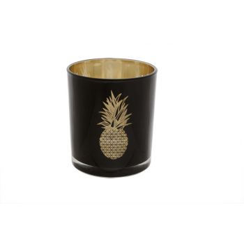 Cosy @ Home Tealightglass Pineapp.black-gold8.5x10cm