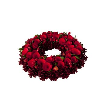 Cosy @ Home Wreath Flower Red Wood D34xh9cm