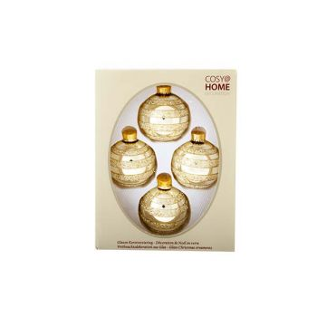 Cosy @ Home Xmas Ball Glass Set4 Lightgold Glit D7cm