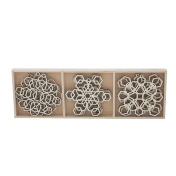 Cosy @ Home Hanger Snowstar Geom Set9 Hout 6x6cm