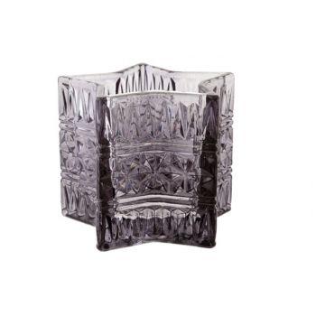 Cosy @ Home Star Tealightglass Darkgray D10xh8cm
