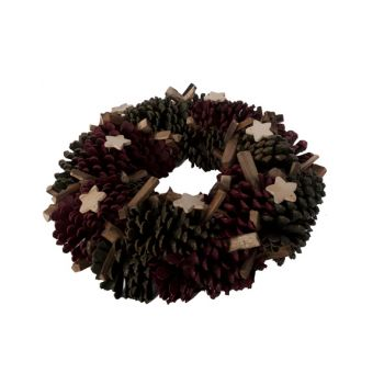 Cosy @ Home Wreath Red Green  Wood D38xh9cm