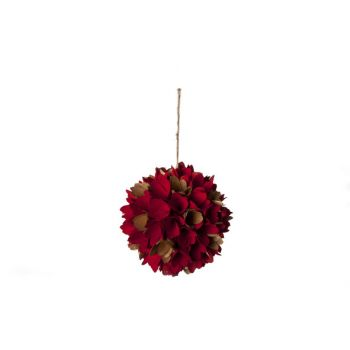 Cosy @ Home Ball Flowers Wood Gold Red H18x18cm