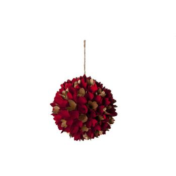 Cosy @ Home Ball Flowers Wood Gold Red H22x22cm