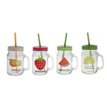 Cosy & Trendy Jar D8xh13cm-45cl With Straw 4 Types