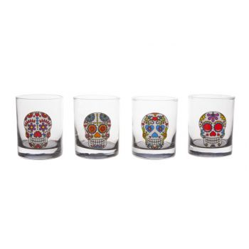 Cosy & Trendy Tiki Glass Skull Set4 D7,5x6,8cm