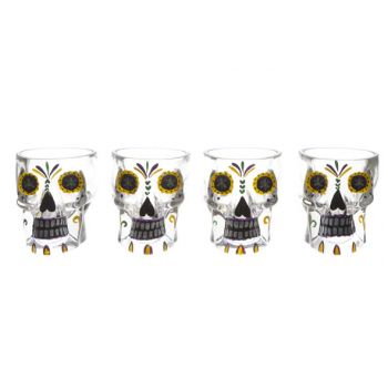 Cosy & Trendy Tiki Glass Skull Set4 D6,7x6,8cm
