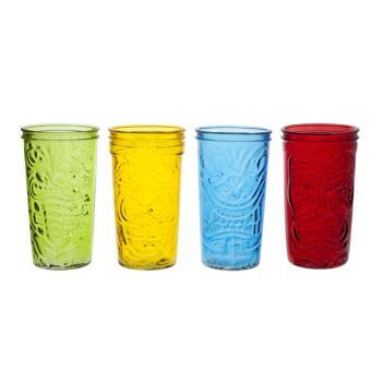 Cosy & Trendy Tiki Drink Glass 9x16cm Colored Set4