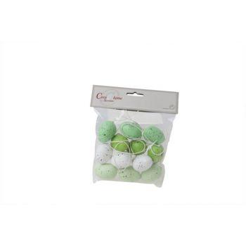 Cosy @ Home Easter Egg White-green Speckl.set12 4.5c