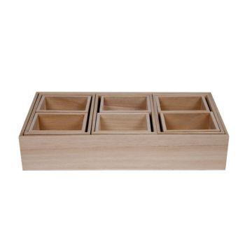 Cosy & Trendy Sort Boxes Set10 Pln Wood 30x15xh6cm