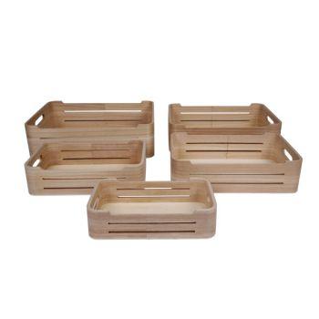 Cosy & Trendy Storage Box Set5 Pln Wood 36x26x10cm