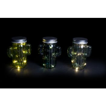 Cosy @ Home Cactus Led 3 Types Green Glass 11,5xh14,5cm