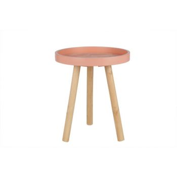Cosy @ Home Table Round Wood Pink 30x30x36cm