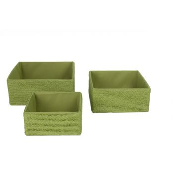 Cosy @ Home Summer Green Baskets Set3 Square