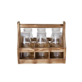 Cosy & Trendy Carrier Wood With 6 Bottles 5.9x14cm-s6