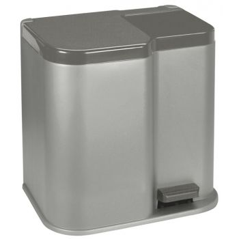 Curver Duo 2 Pedal Bucket 14l-7l Silver Anth.