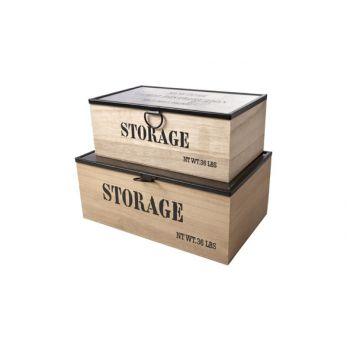 Cosy @ Home Ny Storage Box Set2 Nature Recta Wood