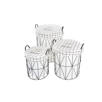 Cosy @ Home Linen Basket Set3 Round Frame With Cloth