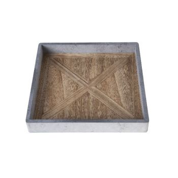 Cosy @ Home Tray Gray Rectangular Wood 24x24xh3,3