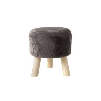 Cosy @ Home Stool Dark Grey Round Wool 35x35xh0 With