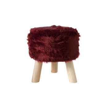 Cosy @ Home Stool Burgundy Round Wool 35x35xh0 With