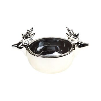 Cosy @ Home Bowl Gold Reindeer Pottery 14,8x9xh9