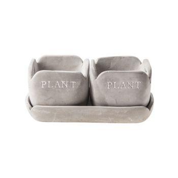 Cosy @ Home Pot Plate Duo Gray Rectangular Ceramic 2