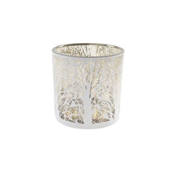 Cosy @ Home Tealight Holder White Round Glass 15x15x