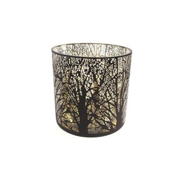 Cosy @ Home Tealight Holder Black Round Glass 25x25x