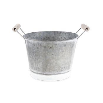 Cosy @ Home Flowerpot Gray Round Zinc L15,5 B12 Stri