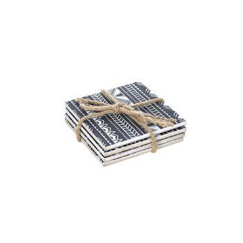 Cosy @ Home Coaster Set4 Black-white Square Wood 9x1