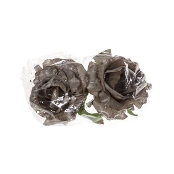 Cosy @ Home Rose Clip Set2 Silver Synthetic 10x10xh8
