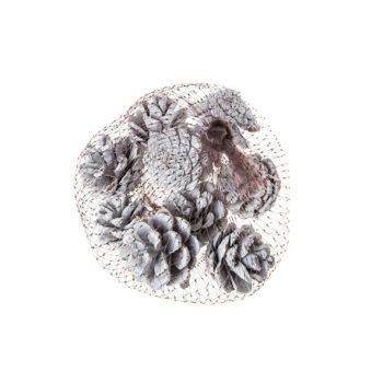 Cosy @ Home Pine Cone White Wood 6x6xh6