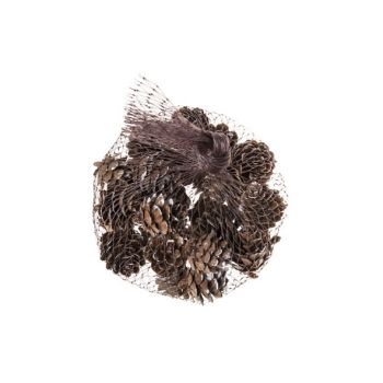 Cosy @ Home Pine Cone Brown Wood 2x2xh2 Snowy