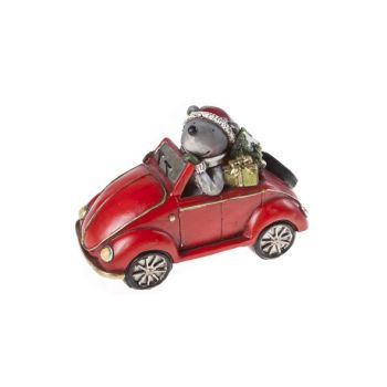 Cosy @ Home Car Red Ceramic 15,5x8xh10,5 Bear