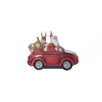 Cosy @ Home Santa Driving A Car Red Polyresin 21,8x9