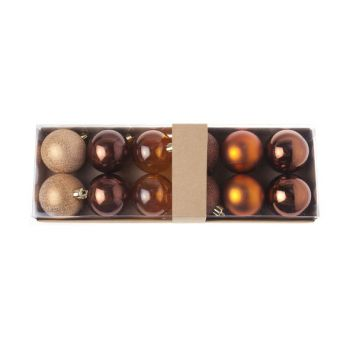 Cosy @ Home Xmas Ball Set12 Brown Round Pvc 0x6xh6 A