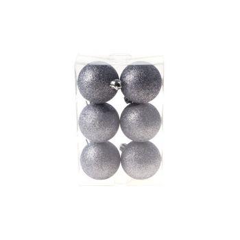 Cosy @ Home Xmas Ball Set6 Gray Round Pvc 0x6xh6