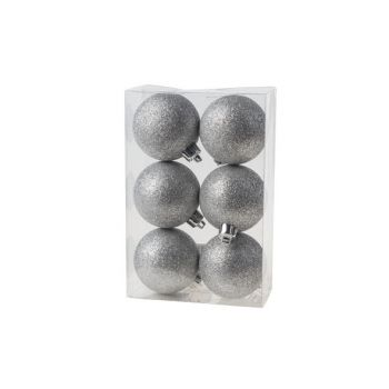 Cosy @ Home Kerstbal Set6 Glitter Zilver D6cm
