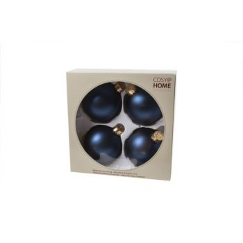 Cosy @ Home Xmas Ball Set4 Royal Blue Bowl Glass D8