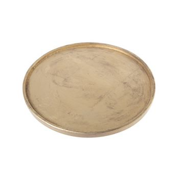 Cosy @ Home Tray Gold Round Wood 38,5x39xh2