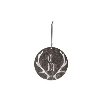 Cosy @ Home Hanging Ornament Gray Wood D15 Glitter