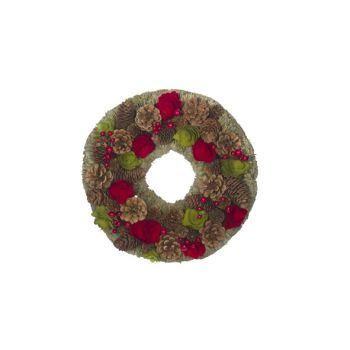 Cosy @ Home Wreath Red-green Round Wood 33x33xh8,5 P