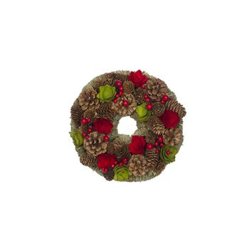 Cosy @ Home Wreath Red-green Round Wood 25x25xh8 Pin