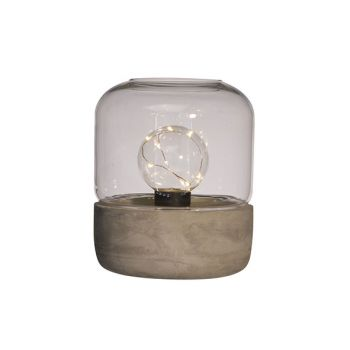 Cosy @ Home Lamp Transp.glas M.cement 18x21cm Led