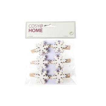 Cosy @ Home Wooden Clip Snowflake Set6  18x14cm