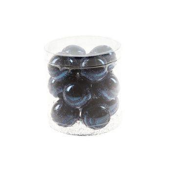 Cosy @ Home Xmas Ball Stripe Glitt Set12 D.blue D3.5