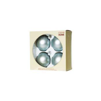 Cosy @ Home Xmas Ball Set4 Light Blue Bowl Glass D8