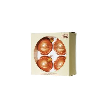 Cosy @ Home Xmas Ball Set4 Pink Bowl Glass D8 8x8xh8