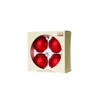 Cosy @ Home Xmas Ball Set4 Red Bowl Glass D8 8x8xh8